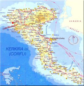 Korfun kartta suhteutettuna Kreikan karttaan